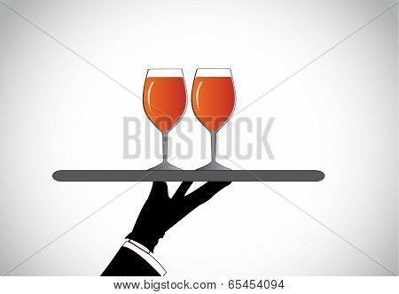 Hand Silhouette Presenting Stylish Glasses With Red Wine Filled - Dating Or Anniversary Celebration