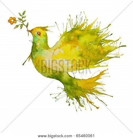Green Dove flying with flower branch