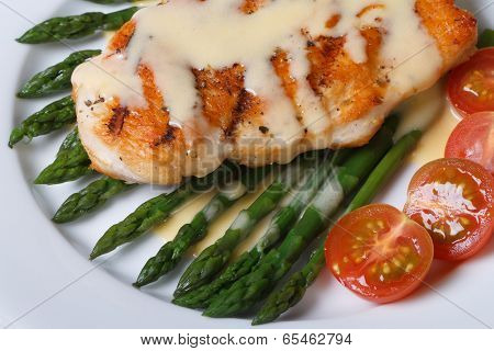 Grilled Chicken Breast With Asparagus, Macro.