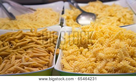 Four Kinds Of Pasta On Buffet