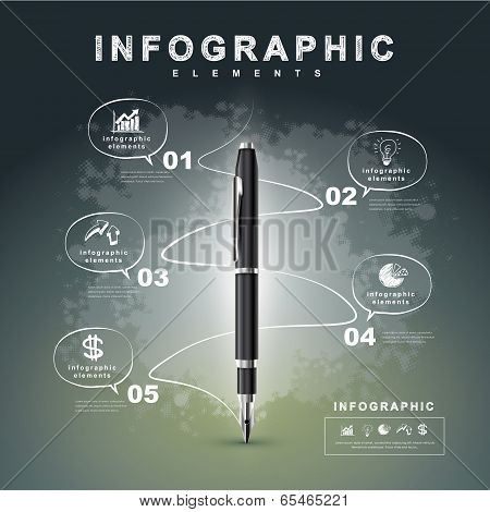 Creative Flow Chart With Fountain Pen Writing Informations