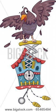 Illustration Featuring a Cuckoo Clock with a Bird Attached to it