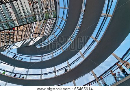 people visit the Reichstag dome in Berlin