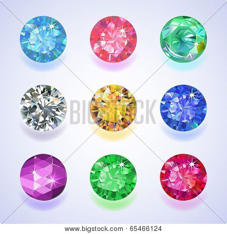 Round Shape Top View Colored Gems
