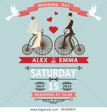 Cartoon Bride Groom On Retro Bike.wedding Invitation