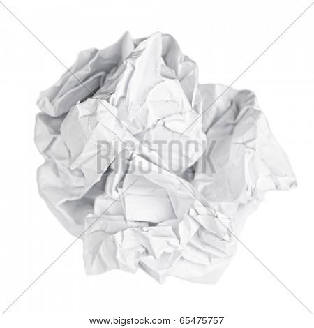 Screwed up piece of paper isolated on white