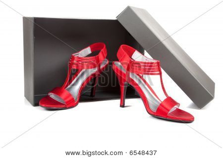 Sexy, Red High Heel Shoes On White