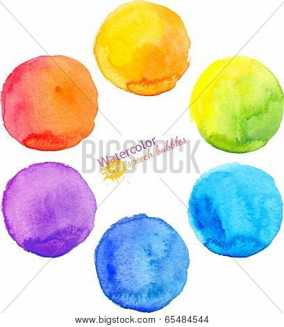 Colorful vector isolated watercolor paint circles