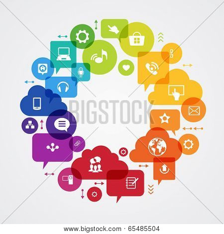 Vector background. Social media concept. ?ommunication in the global computer networks. Set of flat design concept icons for web and mobile services. File is saved in AI10 EPS version.