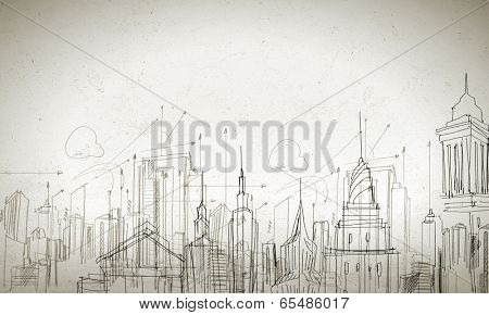 Background conceptual image of construction sketch plan