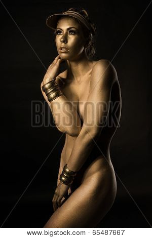 Golden nude Metallic bodypainting woman body