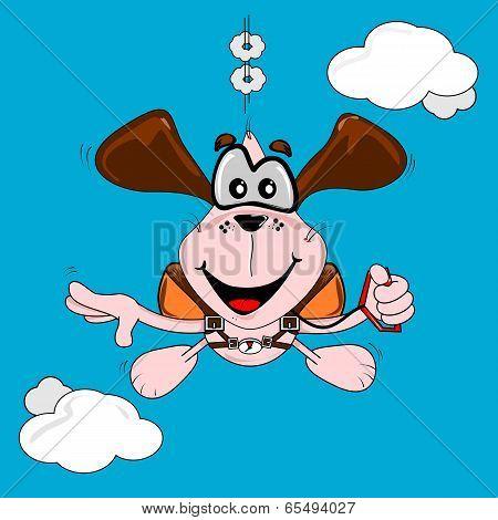 A cartoon dog free fall parachuting on a blue sky background poster