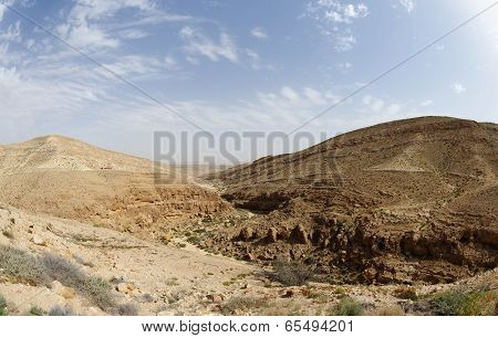 Panorama of Mamshit desert canyon near the Dead sea in Israel