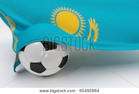 Kazakhstan Flag With Championship Soccer Ball