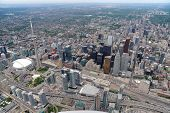 Aerial view of downtown Toronto in overcast weather poster