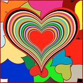 retro hearts, abstract stock; vector art illustration poster
