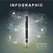 creative flow chart with fountain pen writing informations in a technology space can be used for infographics and banners concept vector illustration poster
