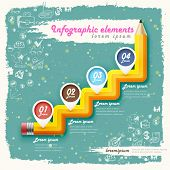 creative retro template with pencil stair flow chart can be used for infographics and banners concept vector illustration poster