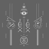 geometric illustration style mystical signs linear style poster