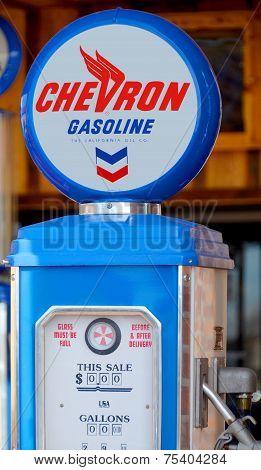 Chevron gas pump sign