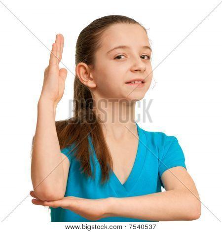 Schoolgirl With A Risen Hand
