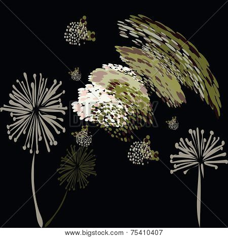 poster of An illustration of a background pattern of fluffy abstract flowers and seeds.
