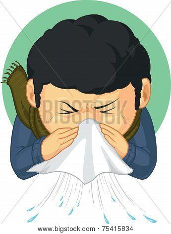 Boy Caught Flu and Sneezing