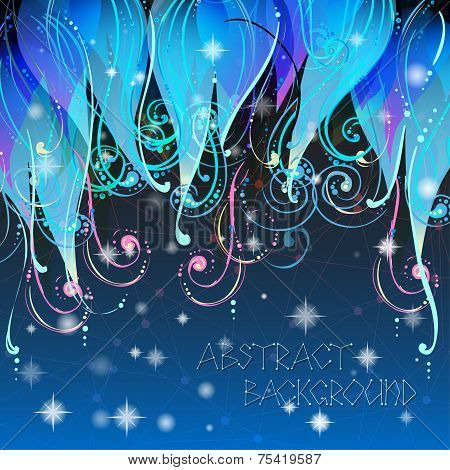 Fairy tale elegant abstract background illustration in vector with swirls, stars and dots. Used clip