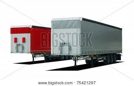 two truck semi trailer