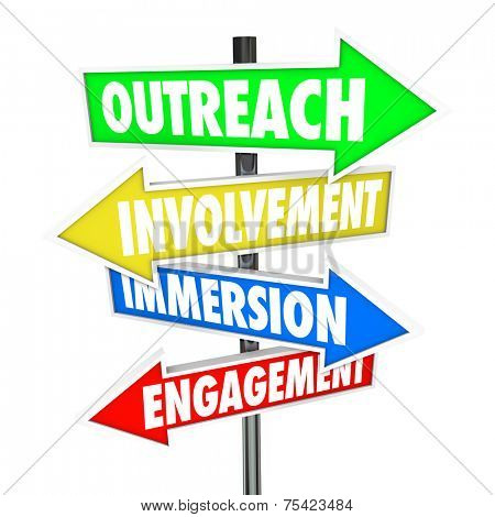 Outreach, Involvement, Immersion and Engagement words on arrows pointing the way to participation with a group, audience, customers or organization