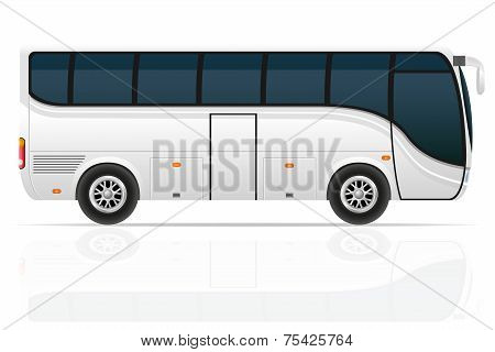 big tour bus vector illustration isolated on white background poster