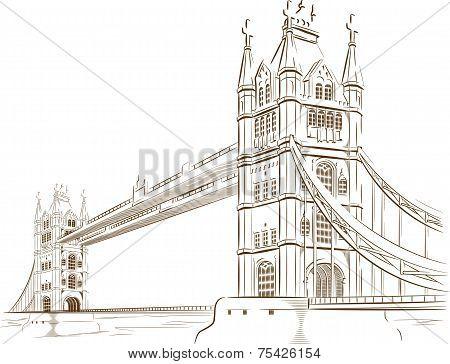 Sketch of British Tourism Landmark - London Bridge