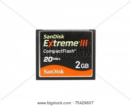 Hayward, CA - October 27, 2014: Sandisk Extreme III 2GB Compact Flash card