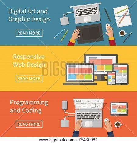 Graphic and Web design, programming, digital art, coding. Freelance occupation. Flat design vector c