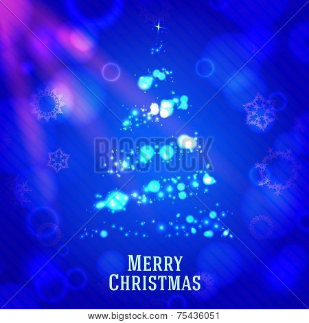Merry christmas tree made from shining bokeh, on blue night background with snowflakes. poster