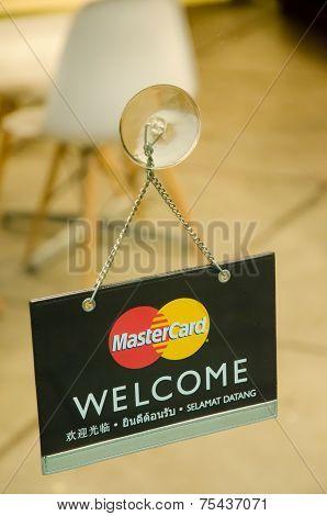 Mastercard Credit Card Logo On A Glass Door