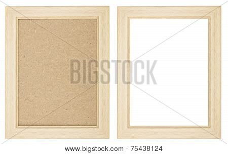 Wooden Picture Frame With And Without Fiberboard Background, Isolated