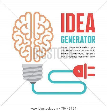 Human brain in light bulb vector illustration