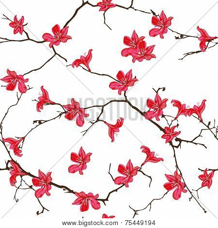 Red cotton tree Chinese seamless pattern, EPS10 poster