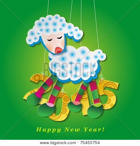 Horoscope symbol of 2015. Paper full-color sheep on green background.  Design element for New Year. Vector illustration of 2015 year of the sheep poster