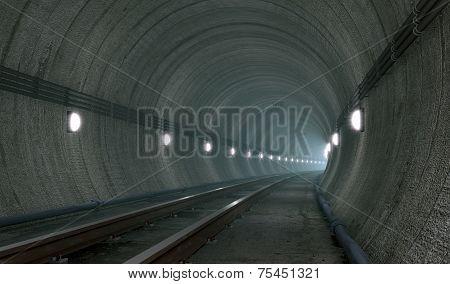 Underground Tunnel With Lights