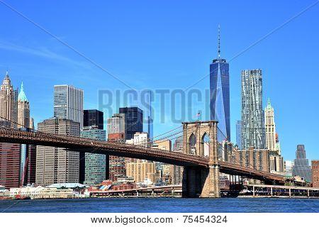 View Of New York City Downtown Skyline With Brooklyn Bridge