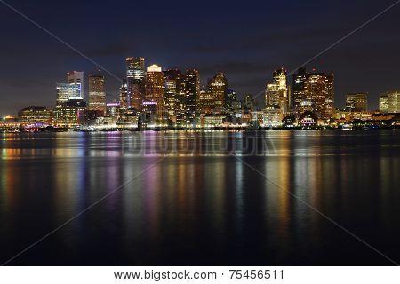 Boston Skyline at night, Massachusetts, USA