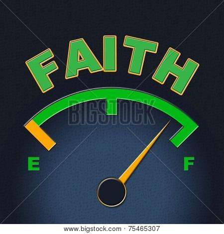 Faith Gauge Shows Scale Religious And Indicator