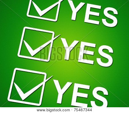 Yes Ticks Indicates Correct Ok And Agreement