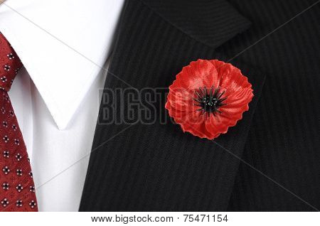 November 11, Armistice Day, Red Poppy For Lest We Forget Remembrance, Closeup On Button Hole Of Man