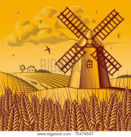 Landscape with windmill. Vector