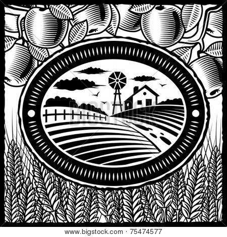 Retro farm black and white. Vector