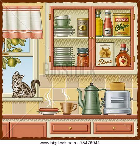 Retro kitchen. Vector