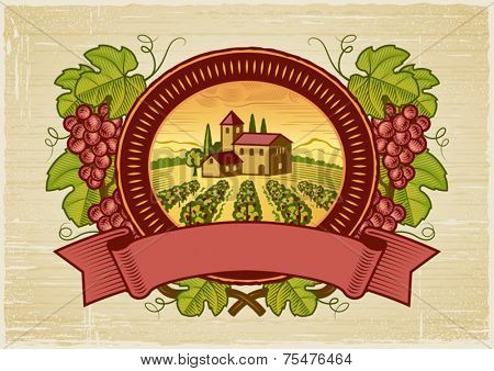 Grapes harvest label. Vector